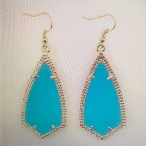 Classic Fashion Brand Teal Inset Resin Earrings